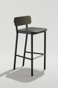Modern Industrial Barstool with metal frame and wood seat and back