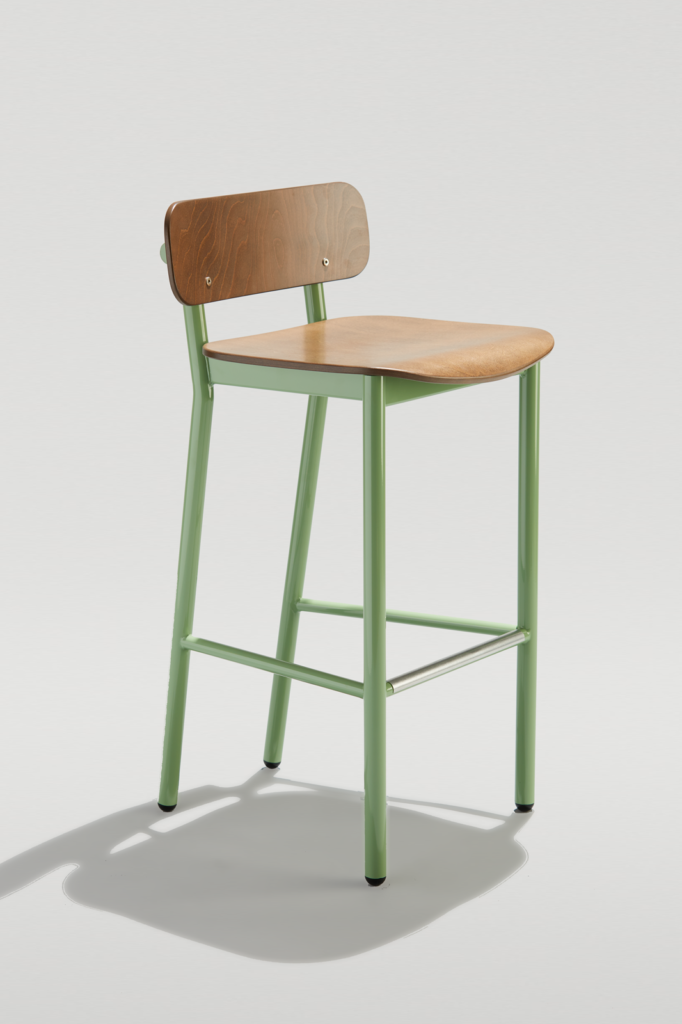 Modern Industrial Barstool in Pale Green and Cocoa Wood