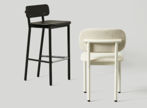 Ferdinand Barstool and Ferdinand Chair in Black and White
