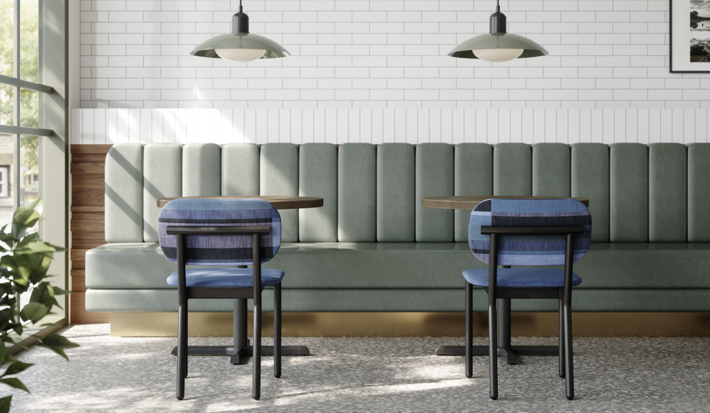 Modern Commercial Dining Chair in Black and Blue Upholstery inside of CAfe