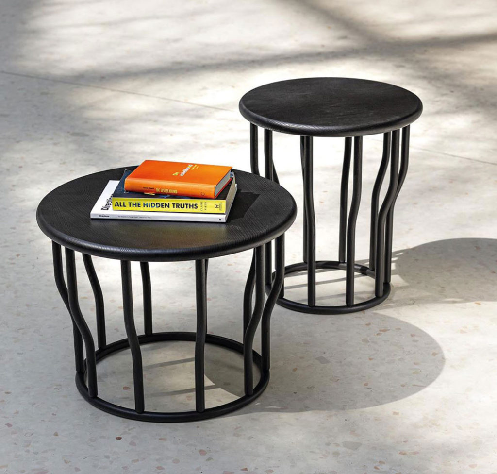 Two modern wood coffee tables in black and natural finish.